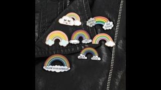 Значок в виде облака радуги, броши, значки, тканевый рюкзак, сумки, головные уборы, кожаные прилагательные, украшения,