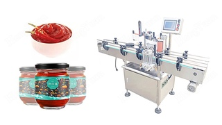 2000bph High-accuracy Chili Sauce Glass Jar Automatic Clamping Type Non-dry Sticker Labeling Machine