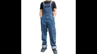 Мужские джинсы, мужские джинсовые комбинезоны, мужские комбинезоны, комбинезон с несколькими карманами, прямые брюки, синие