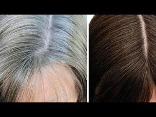 Прощай седина/из седых волос в чёрные за 4 минуты  натуральными продуктами