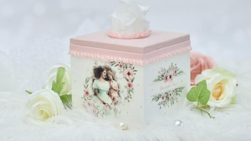 Decoupage różowy chustecznik z portretami DIY tutorial