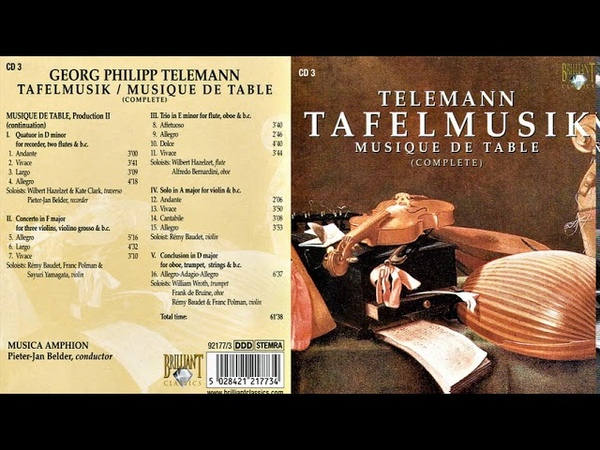 Telemann Tafelmusik Musique de Table Musica Amphion Pieter Jan Belder CD 3