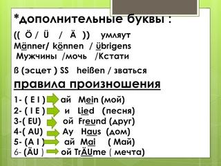 немецкий язык( 2 )правила произношения уровень А 1