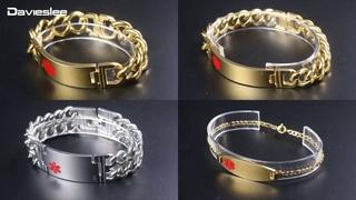 Женские браслеты из нержавеющей стали davieslee, 3 мм, золотого цвета с оповещением о медицинской