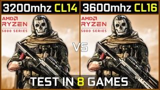 3200mhz CL14 vs 3600mhz CL16   Ryzen 5000   Test in 8 Games