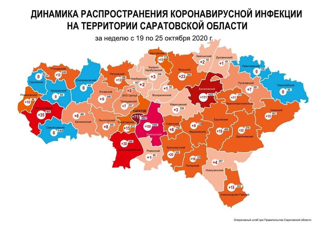 Оперативный штаб подготовил карту динамики прироста случаев коронавируса за неделю с 19 по 25 октября по муниципалитетам Саратовской области