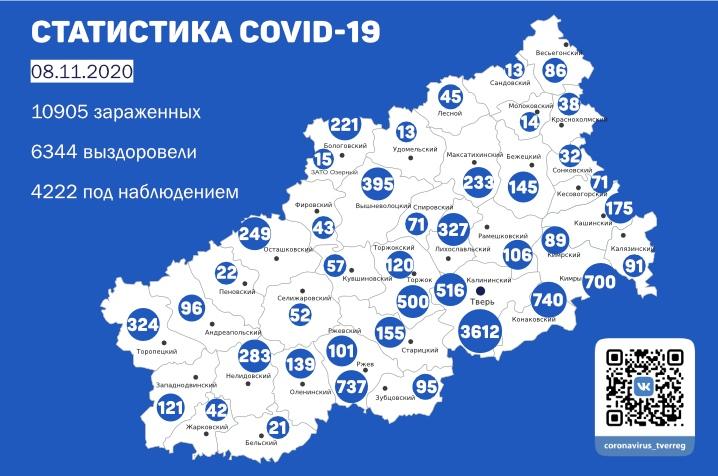 182 заболевших: свежая статистика по коронавирусу в Тверской области