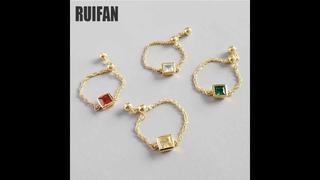 Женское регулируемое кольцо цепочка ruifan, 4 цвета, из стерлингового серебра 925 пробы, 18 к