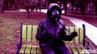 Black leather down jacket with a hood, black warm pants + a panoramic MP-3 mask of GP-21 gas mask