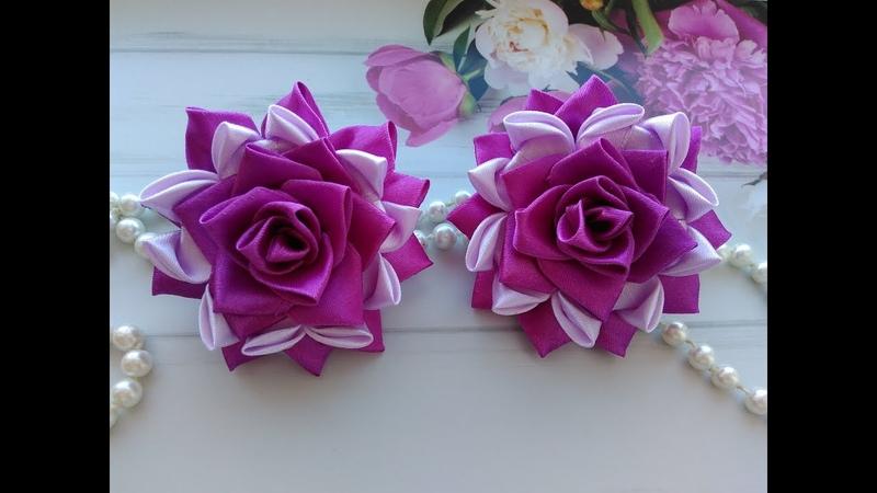 Красивые бантики из атласных лент МК Канзаши Beautiful bows of satin ribbons