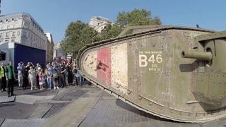 Tank 100 years - WW1 Mark IV tank moving through London