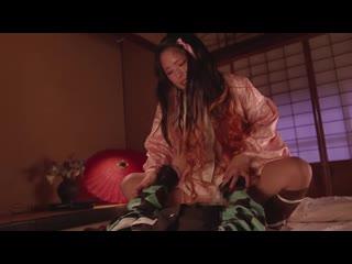 Клинок, рассекающий демонов Порнопародия / Konno Hikaru, Abeno Miku, Nagisa Mitsuki, Tanaka Nene - Onizume s Omeko Porno минет