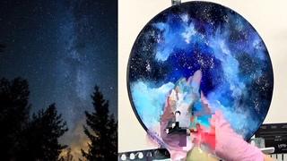 Как написать звёздное небо, деревья без кисточек. ЛЕГКО и просто. Фантазия на тему неба NEW {2021г}