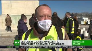 «Tout augmente, sauf les salaires» : des Gilets jaunes rassemblés devant le château de Versailles