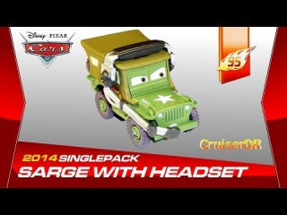 Disney Pixar Cars 2014 Diecast Single Pack Sarge with Headset 1:55 Scale Mattel