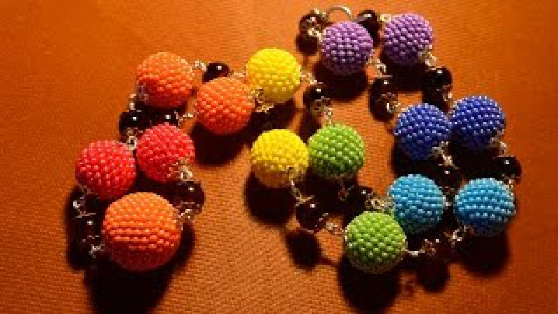 Бусы из бисера Как обплести бусину Бисероплетение Мастер класс Beads of