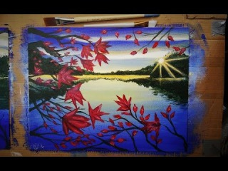 Sunburst Over Water Through Autumn Leaves - LANDSCAPE PAINTING TUTORIAL - Real Time PAINT ALONG