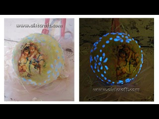 Glow in the dark Christmas ball decoupage tutorial DIY