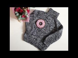 Детский свитер для девочки спицами(с удлиненной спинкой) - YouTube