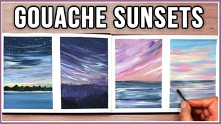 I think I'm OBSESSED! Let's Paint Sunsets & Clouds with Gouache / Art Journal Thursday
