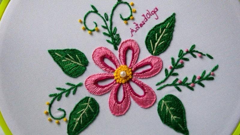 Hand Embroidery Buttonhole stitch flowers Bordados a mano Flores en punto ojal Artesd'Olga