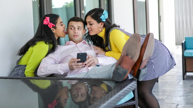 Maya Farrell, Alina Belle - My Stepsisters Fucked Me To Get Into The Club - Threesome Sex Big Natural Tits Juicy Ass Latina