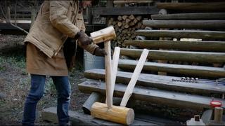 log bar stool and wood pallet