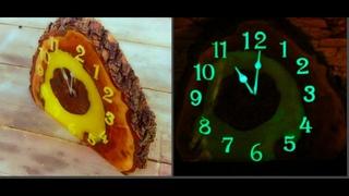 #Светящиесячасы #Часысвоимируками  DIY glowing clock made of wood and epoxy resin. Светящиеся часы из дерева и смолы, своими руками.