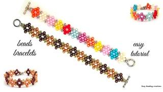 DIY 2 colors or multiple colors beaded bracelet.  Homemade bracelet
