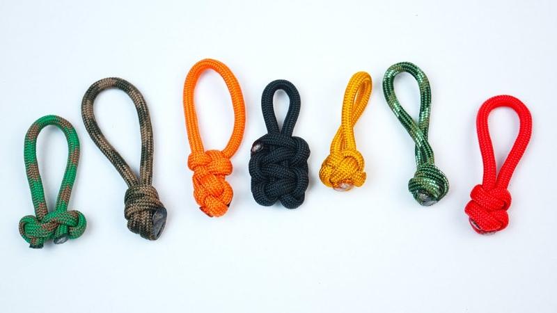 7 вариантов легких бегунков для молнии из паракорда 7 Paracord Easy Zipper Pulls