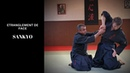 Défense sur étranglement de face,Sankyo Mushin ryu école de jujitsu, arts martiaux japonais.