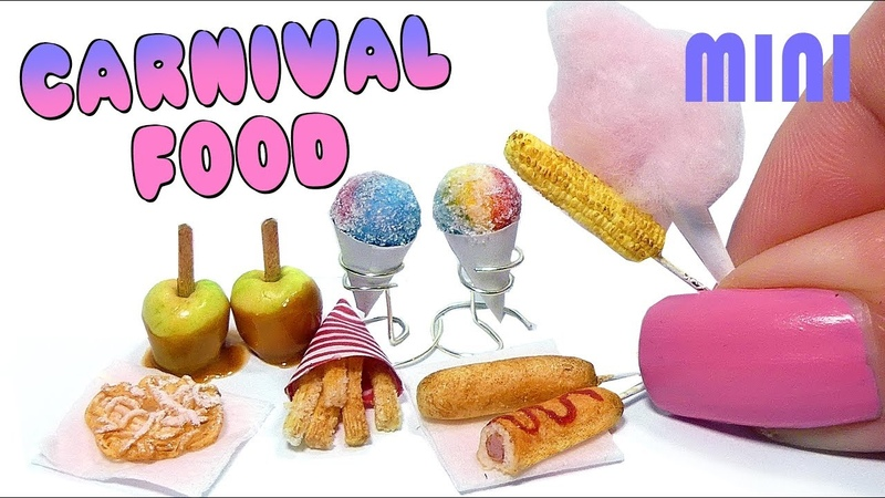 EASY Mini Carnival Food Snacks Tutorial DIY Miniature Funnel Cake, Corn Dog More
