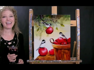 How to Paint BIRDS AND AN APPLE BARREL with Acrylic - Paint and Sip at Home - Step by Step Tutorial
