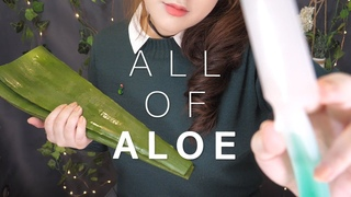 ASMR All of ALOE 🎍 (Personal Skincare, Massage, Eating, Cutting)