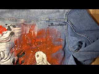 Кастом джинсовой куртки на заказ (роспись куртки) Алина Павлючкова