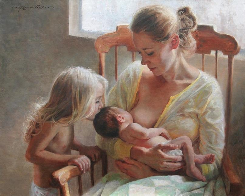 Вот ещё более идеалистическая картина. Тут центром выступает уже не мать и не любовная молитва ребёнка, центр тут младенец (мне кажется, что это мальчик), на которого направлено внимание матери и сестры. На нём сходится поцелуй, взгляд, кормящая грудь. Папа на работе, присутствующее на картине Святое семейство озаряют солнечные лучи… Мне самым удивительным в этой картине кажется отношение к ребёнку со стороны девочки — младенцев старшие братья/сёстры чаще терпеть не могут.