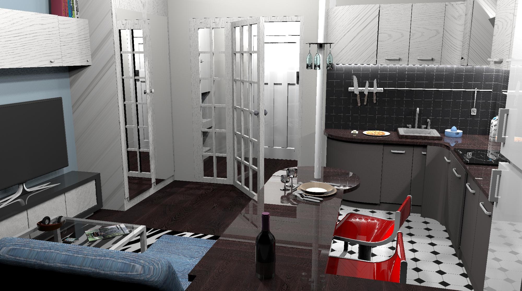 Проект квартиры-студии 24 кв/м.