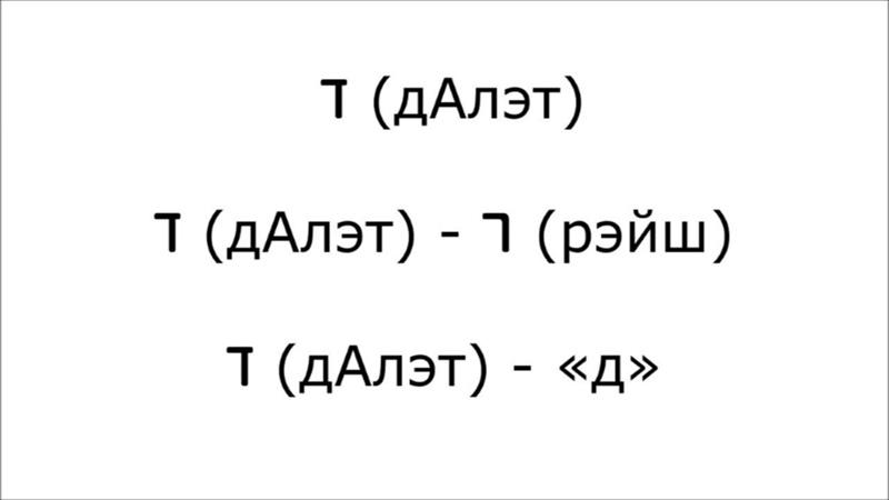 2 Учимся читать буквы ד Далэт ה hэй и ו Вав