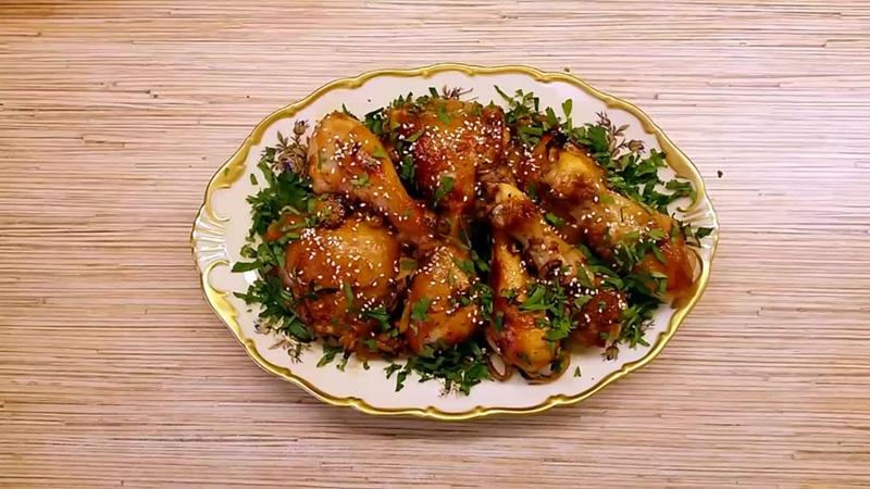 Курица в медово-соевом маринаде, запеченная в духовке.mp4