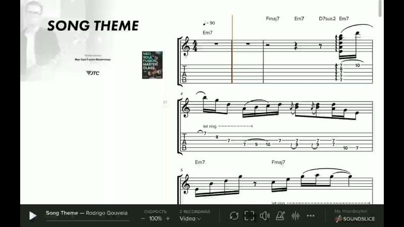 Rodrigo Gouveia - Song Theme ( Neo Soul Fusion Masterclass JamTrackCentral.com ) Soundslice