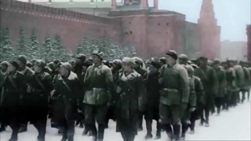 Речь Сталина на параде 7 ноября 1941 в цвете