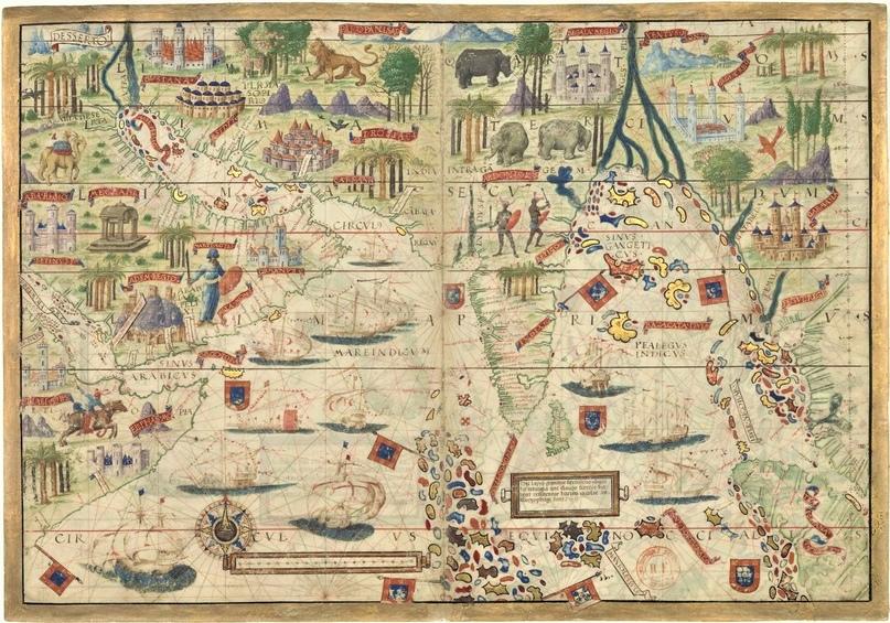 Аравия, Индия, Азия. Карта из Атласа Миллера (1519)