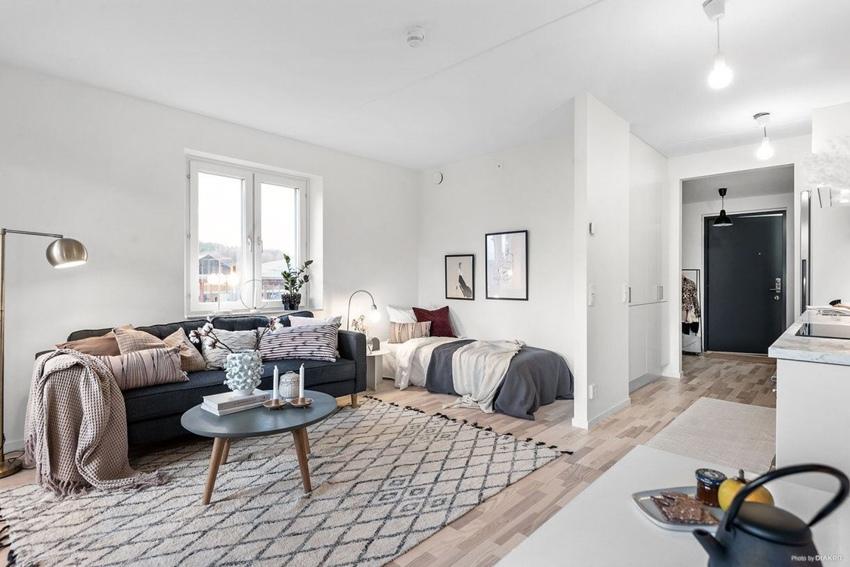 Интерьер шведской квартиры-студии почти 35 кв.
