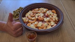 Греческая кухня  Креветки саганаки