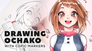 Drawing OCHACO with Copic Markers
