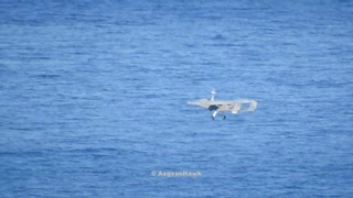 Hellenic Air Force UAV Pegasus II take off from Chios National Airport.