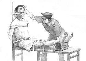Скамья тигра Очень простая, но жестокая и часто калечащая, китайская пытка. Ноги человека привязывали выше колен к скамье, ноги вытянуты, а потом под голени начинали подбивать клинья или