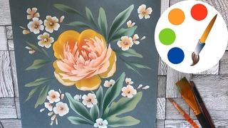 Painting the Yellow Peony, OneStroke, speed painting