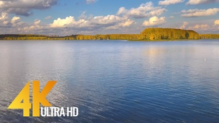 Beautiful Autumn Day at Gorky Reservoir, Russia - 4K Nature Relax Video with Nature Sounds